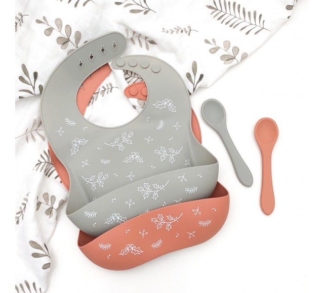 Silicone Catch Bib & Spoon Set - Limited CHRISTMAS Edition