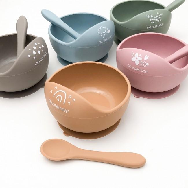 ONE.CHEW.THREE Silicone bowl & Spoon Set