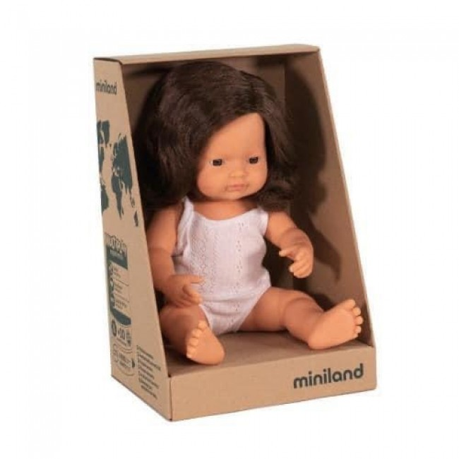 Miniland Doll - Caucasian Girl Brunette - 38cm *SOLD OUT RESTOCK END OF SEP