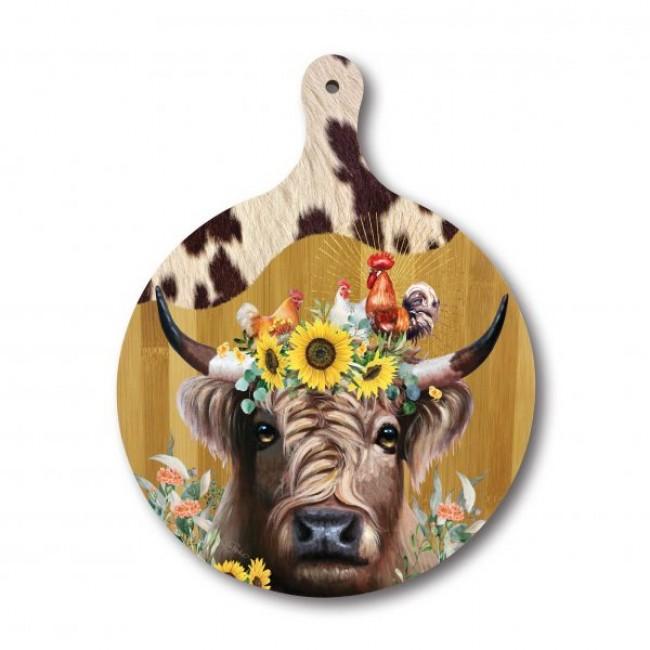 Round Bamboo Serving Platter Barnyard Cow