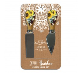 Bamboo Cheese Knives - Sunflower Cowhide