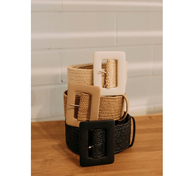 Amrita Leather Buckle Straw Belt
