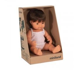 Miniland Doll - Caucasian Boy Brunette Hair 38cm