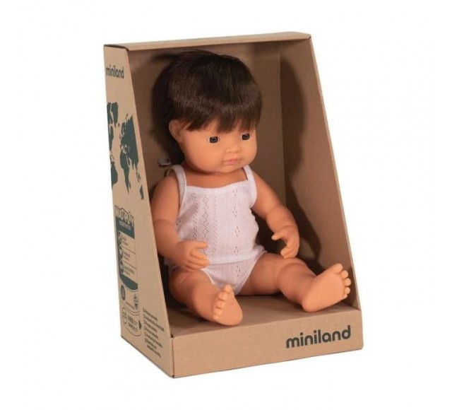 MINILAND DOLL - CAUCASIAN BOY BRUNETTE HAIR - 38CM
