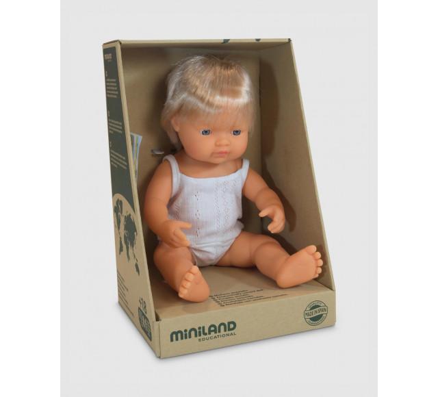Miniland Doll - Caucasian Boy Blonde Hair 38cm