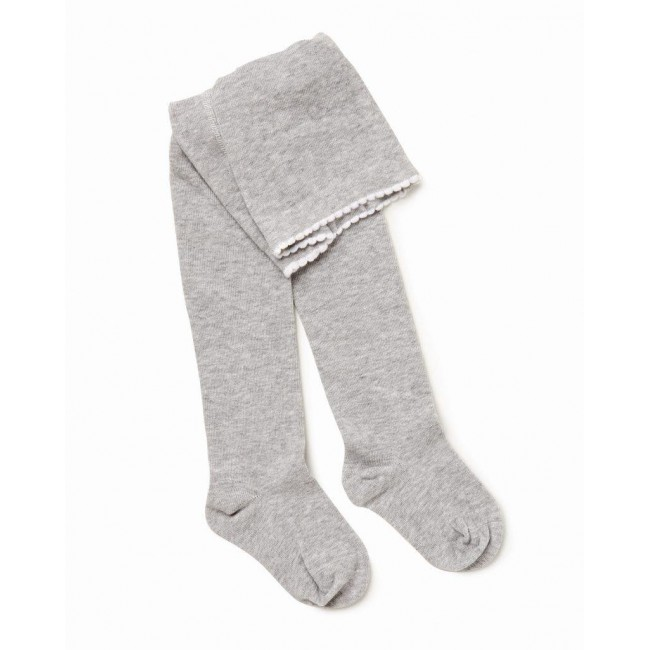 MARQUISE Girls Knitted Tights - Grey Marle